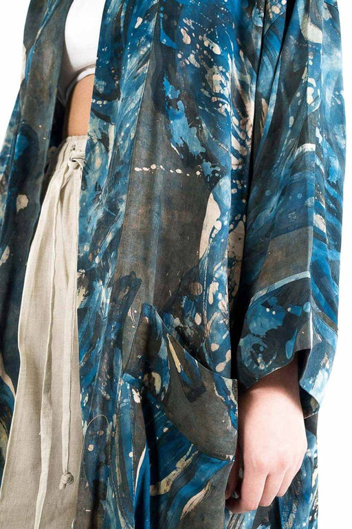 Unisex handpainted batik kimono, ethically handwoven and naturally handdyed, RUPAHAUS
