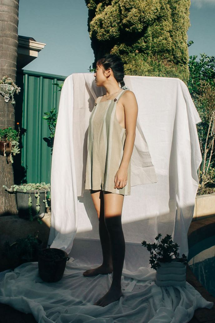 Womenswear playsuit, ethically handwoven and naturally handdyed, RUPAHAUS
