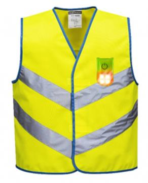 JUNIOR COLOUR BRIGHT VEST WITH ATTACHABLE MAGNETIC LED