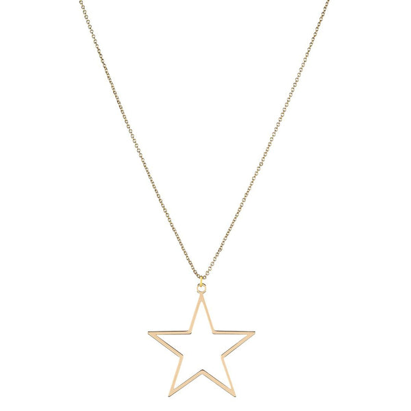 Gold Plated Long Dainty Star Necklace - shopthecrowns