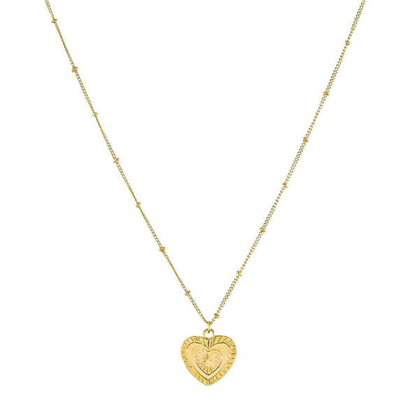 Gold Plated Satellite Heart Pendant Necklace - shopthecrowns