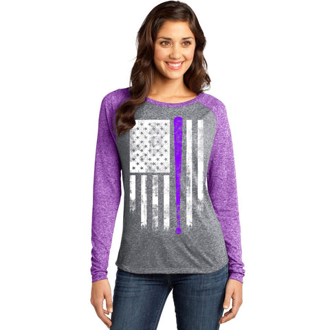 America's Pastime Purple and Grey Baseball Shirt