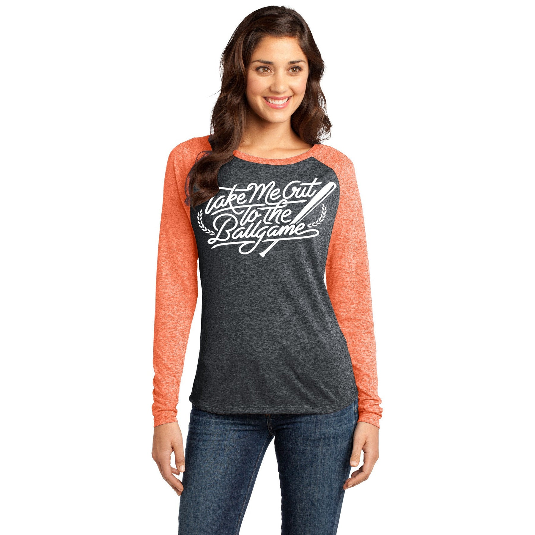 Take Me Out To The Ballgame Orange and Black Baseball Shirt