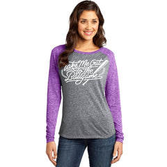 Take Me Out To The Ballgame Purple and Grey Baseball Shirt