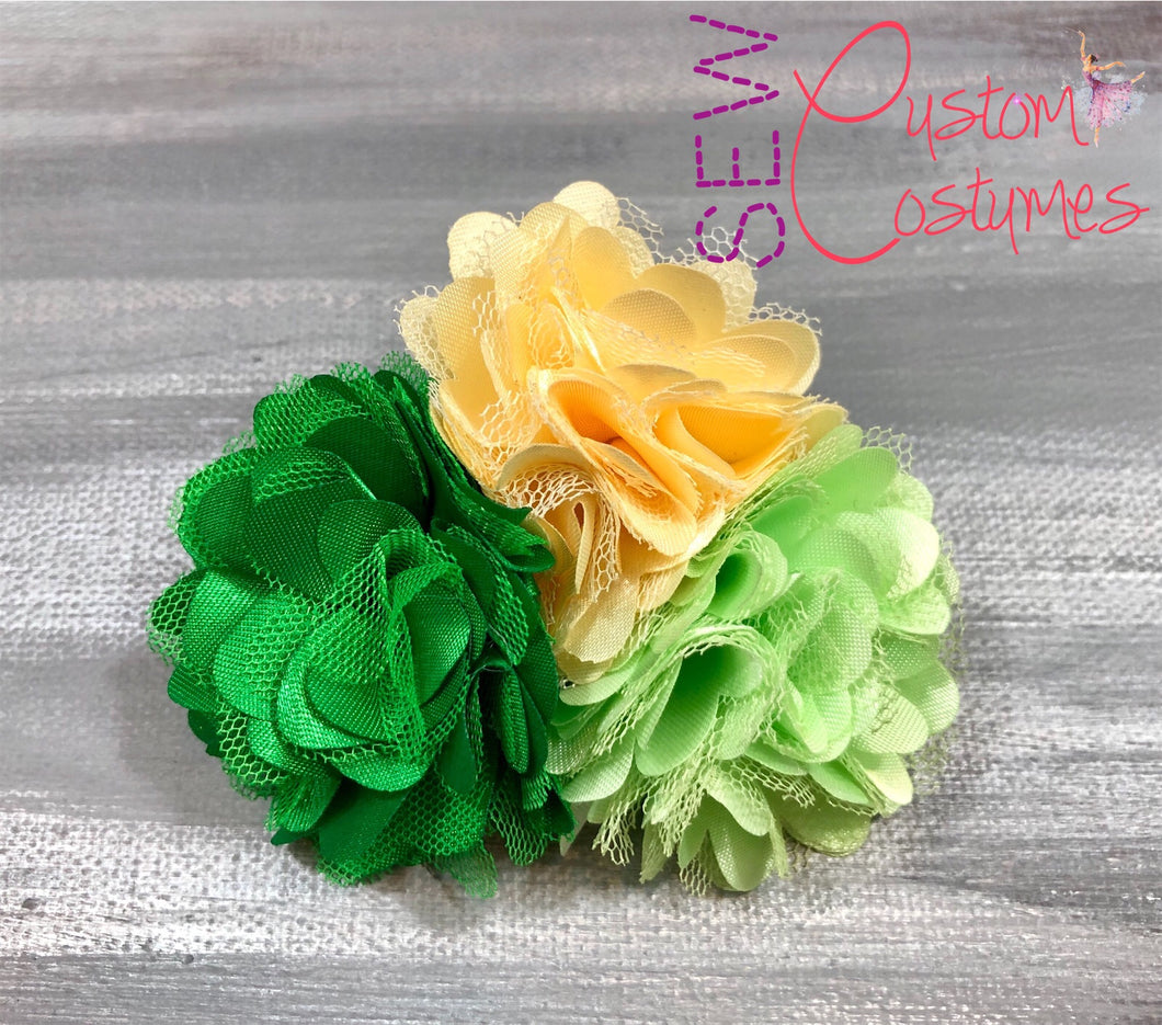 Ivory And Shades Of Green Hair Flower Trio Sew Custom Costumes