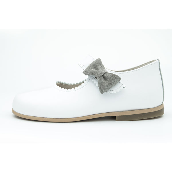 Mary Jane White with Grey Suede Bow