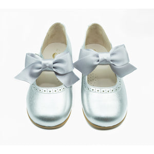 Mary Jane Silver with Detachable Satin Bow