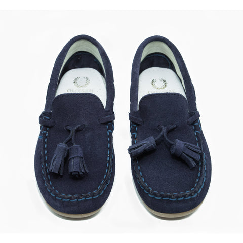 Navy Suede Loafer with Tassel