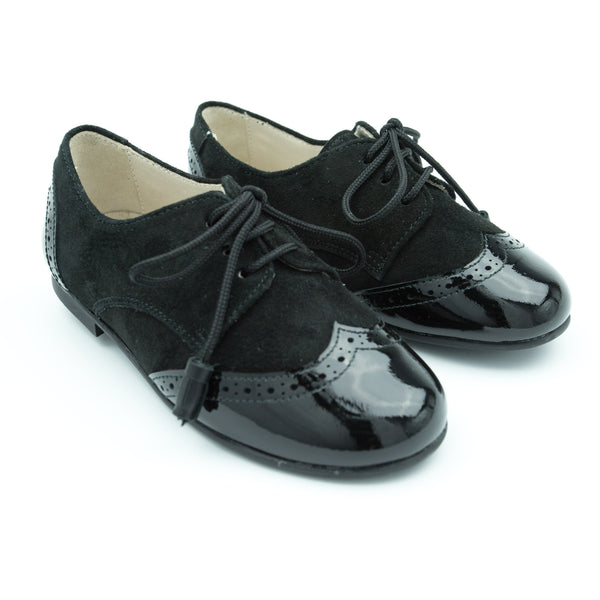 Brogue Prince Black Patent and Suede