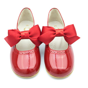 Red Patent Mary Jane with Detachable Satin Bow