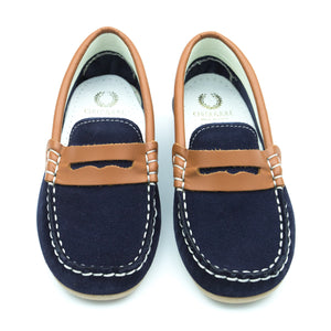Navy Suede and Tan Loafer