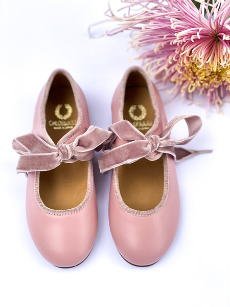 Mary Jane Leonor Rose Pink with Velvet laces