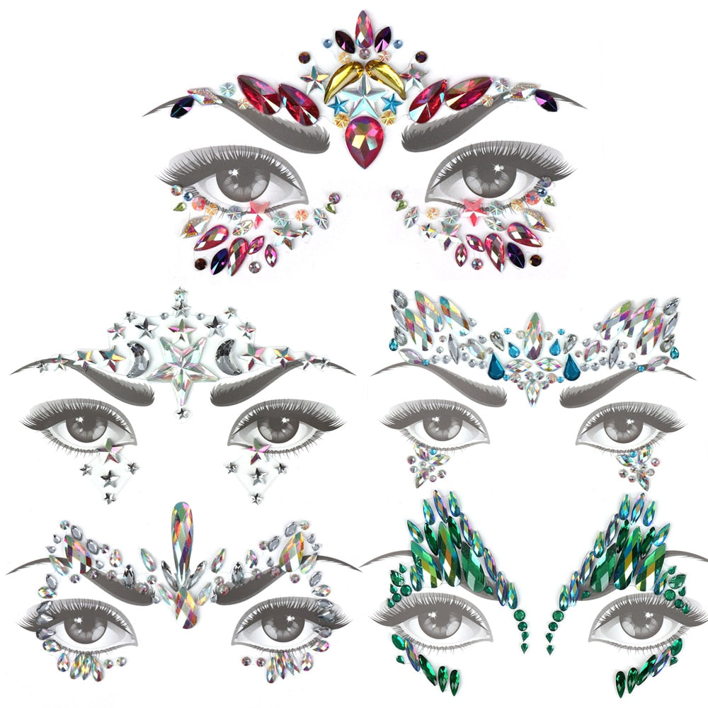 Glitter Face Jewels Temporary Tattoo Sticker Body Gems Gypsy Festival  Adornment Party Face Decoration Tattoo Beauty ... 40dc61f1faef