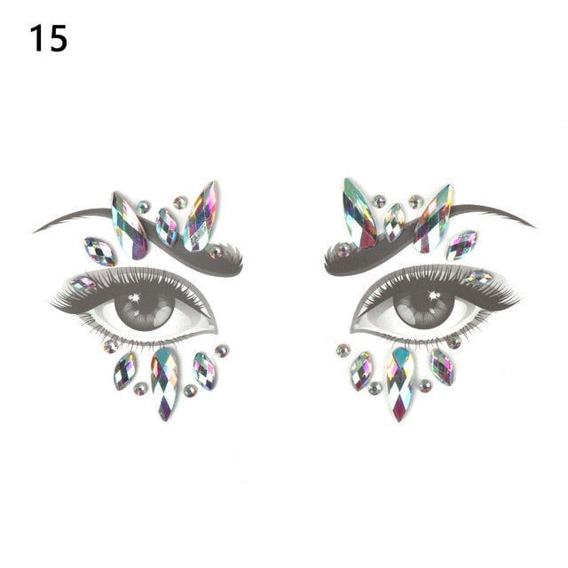 ... Glitter Face Jewels Temporary Tattoo Sticker Body Gems Gypsy Festival  Adornment Party Face Decoration Tattoo Beauty ... 2d1781d2aa16