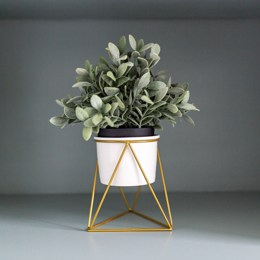 Planter Pot with Geometric Metal Stand