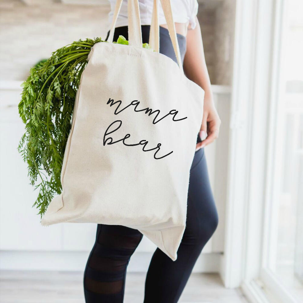 Mama Bear Tote Bag, in natural