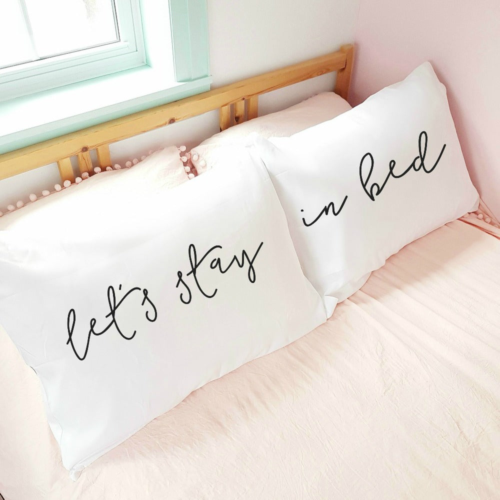 'Let's Stay in Bed' Pillowcase Set (pair)