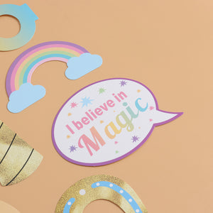 Unicorn and Rainbows Photo Booth Props (13 pieces)