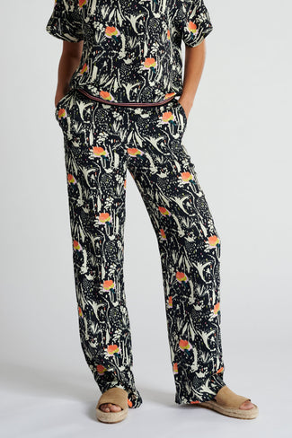 TROUSERS - Roses Midnight Blue