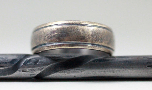 Copy of Mens Wedding Band , Rustic Men's Ring, 10k yellow gold, Comfort Fit, Engraved, Stamped, Oxidized Antique Patina... 5 x 2mm by JC metalsmith