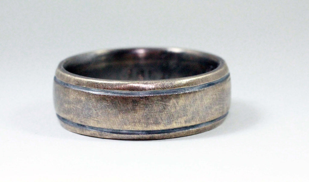 Mens Wedding Band , Rustic Men's Ring, 10k yellow gold, Comfort Fit, Engraved, Stamped, Oxidized Antique Patina... 5 x 2mm by JC metalsmith