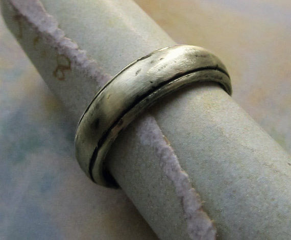 Rustic Wedding Band, 14k White Gold Men's Ring, Comfort Fit, Cast Metalwork, Oxidized Antique Patina... 6mm