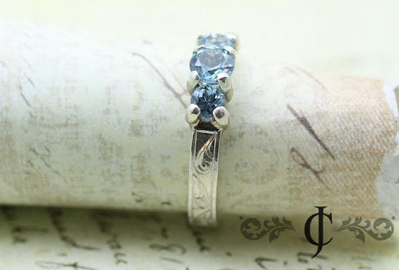 Aquamarine Waves Ring, 14k White Gold Vintage Inspired Engagment ring, handmade