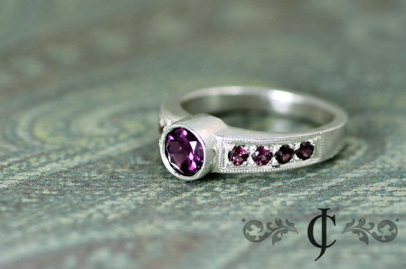 Purple Rhodolite Garnet Ring in 14K White Gold