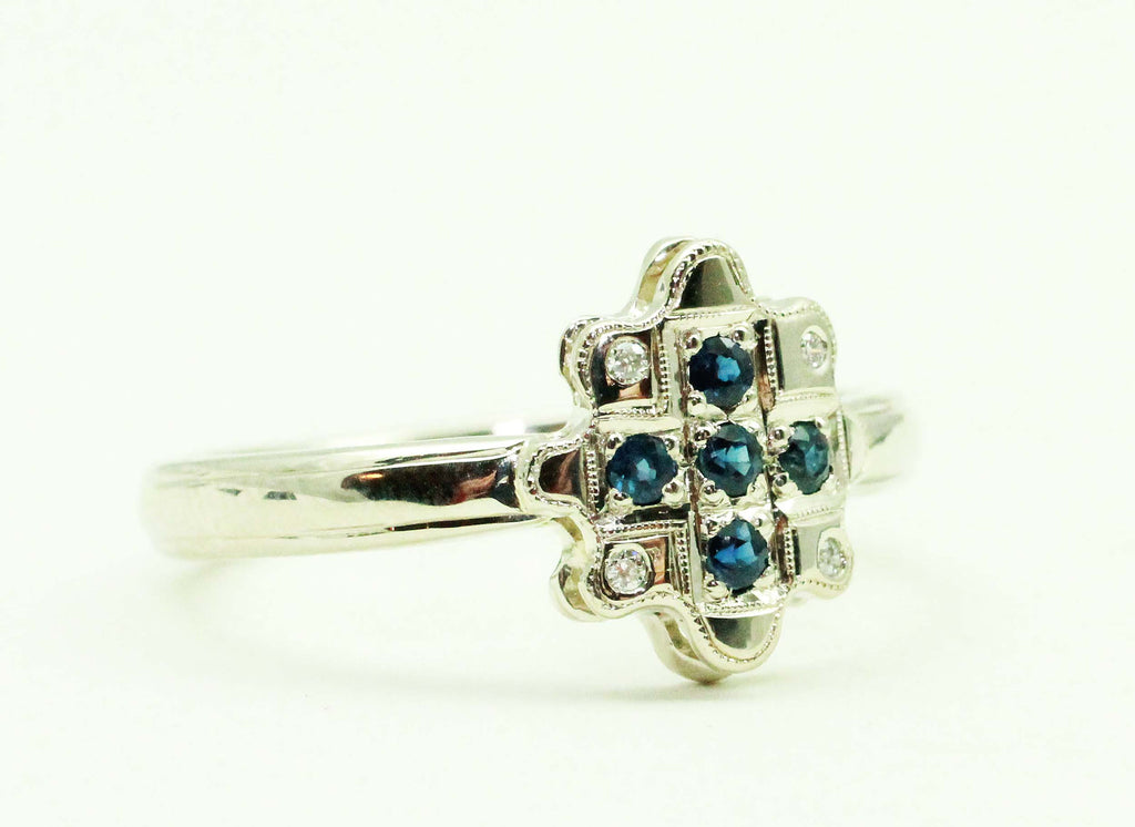 Handmade 14k white gold and sapphire ring by JCMetalsmith