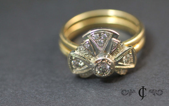 Tie the Knot Diamond Ring Set, 18k Gold Vintage Wedding Stackable Bands