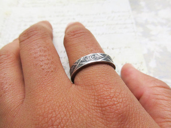 Waves and Arches Hand Engraved Ring, 14k White Gold, Celtic Wedding Band... 5mm #jcmetalsmith