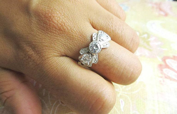 Bow Tie Diamond Engagement Ring