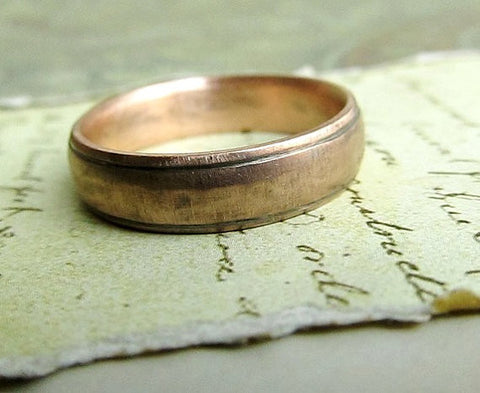 Rustic Gold Wedding Band, 14k Rose Gold, Comfort Fit, Handmade, Engraved, Oxidized Antique Patina... 6 x 2mm #jcmetalsmith