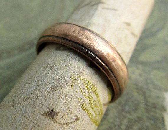Upgrade to 8x2mm for George, 14k Rose Gold, Comfort Fit, Oxidized Antique Patina