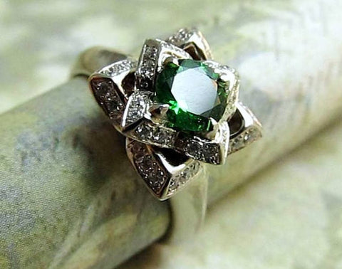 Lotus Ring...14k White Gold, Diamonds and Chrome Diopside, Vintage Inspired