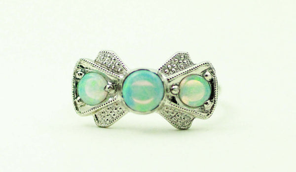 Vintage Inspired White Opal Bow Tie wedding band with 14k White and Yellow Gold, Handmade by James Christian