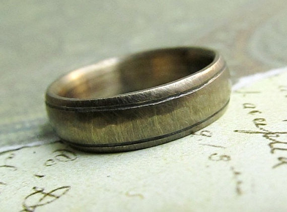 Rustic Gold Band , 14k Gold Men's Wedding Ring, Comfort Fit, Engraved, Oxidized Antique Patina... 5 x 2mm