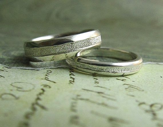 Platinum Wedding Ring Set, Engraved...Comfort Fit,  Men's Ring, His and hers, Bride and Groom's Rings, Set of 2