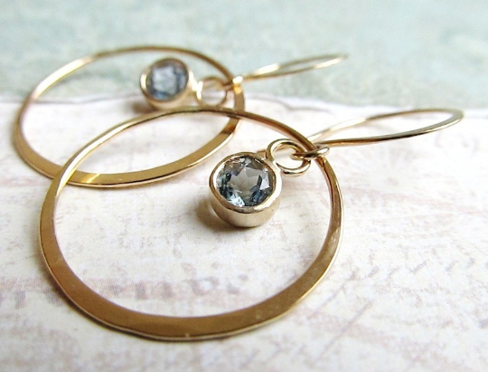 14 karat gold and aquamarine Hoops
