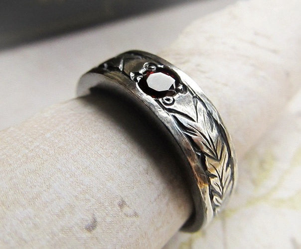 celtic engraved gemstone ring 14k white gold mens celtic wedding band hand engraved garnet rustic leaf pattern