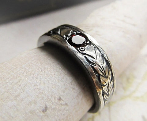 Celtic Engraved Gemstone Ring, 14k White Gold, Men's Celtic Wedding Band, Hand Engraved, Garnet, Rustic Leaf Pattern