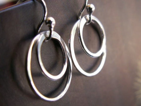 Petite Double Hoop Earrings 14k White Gold, Artisan Metalwork Handmade By James Christian