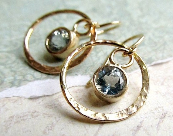 Aquamarine and Little Gold Hoop Earrings - 14k Gold Hammered Metal