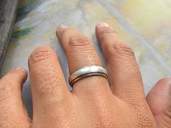 Rustic Wedding Band 14k White Gold Mens Ring Comfort Fit Cast