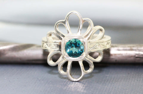 Blue Topaz Daisy Ring, 14k White Gold, Handmade, Engraved, Vintage Antique Inspired Wedding or Engagment Ring
