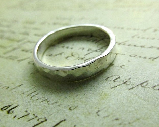 Platinum Men's Ring, Rustic Hammered Metalwork Jewelry, Bridal... 4mm