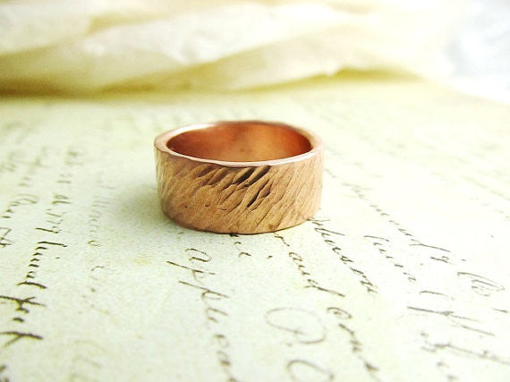 Men's Wedding Band,14k Rose Gold Ring, Rustic, Bridal, Hammered Metalwork Jewelry, 8mm