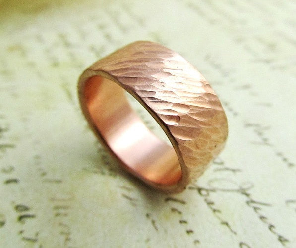 Mens Wedding Band14k Rose Gold Ring Rustic Bridal Hammered Metalwork Jewelry 8mm