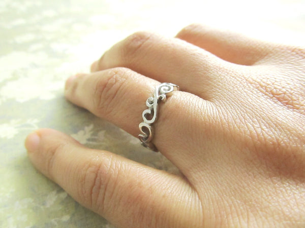 Scroll Ring, Wedding Band, 18K White Gold Ring, Filigree, Ocean Waves, Hand Sculpted, One of a Kind, Custom, Personalized, Engraved