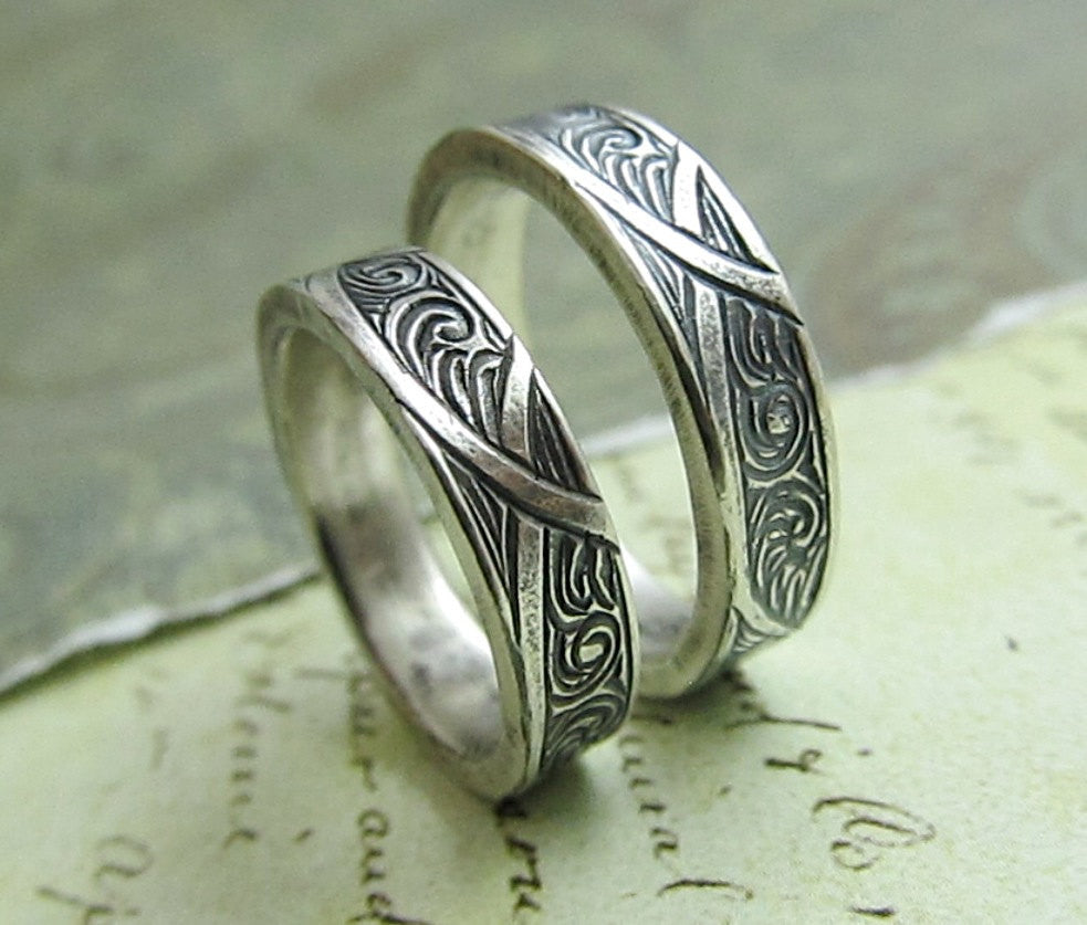 Waves and Arches Wedding Band Set, Engraved 14k White Gold Rings, His and Hers, Celtic Scroll Ring